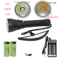 XHP70 XHP50 Diving Flashlight CREE LED 5000Lumens Yellow White Light Tactical Underwater 100M Waterproof Torch