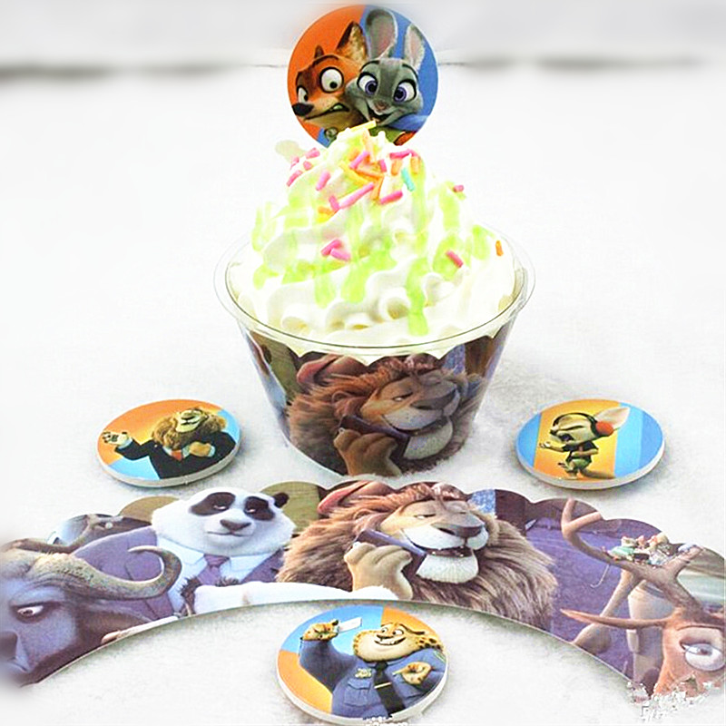 24pcs Cake Dessert Inserted Card Prod With Crazy Anmials City Cartoon Cake Card Cupcake Picks Kids Birthday Party Decoration