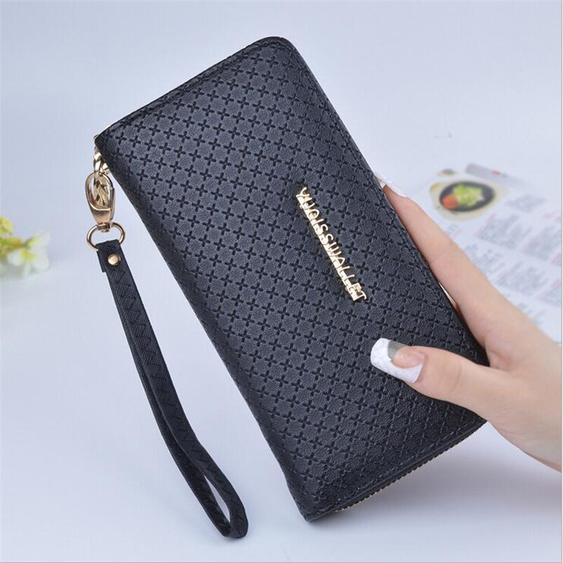 High Quality Long Women Wallets Brand Design Plaid  Wallet Female Zipper Fashion Dollar Price Coin Solid Color Purses Carteira makorster women wallets brand design high quality hasp leather wallet female fashion dollar price long wallets for women yy155