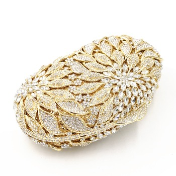 Luxury Rhinestone Gold Metal Leaves White Crystals Evening Clutch  5