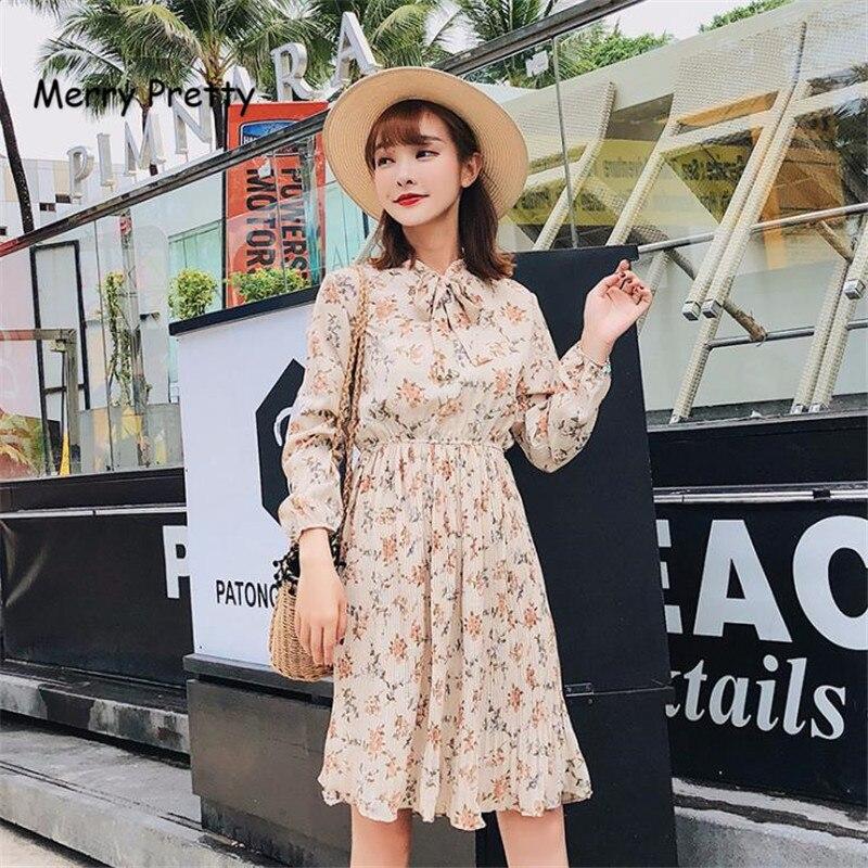 42b7f716 Merry Pretty Bow tie neck floral chiffon dress women long sleeve knee  length dresses sweet fashion beach dress femme robe 2018-in Dresses from  Women's ...