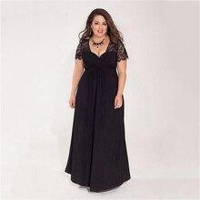 Plus Big Size Women Clothing 5XL 6XL Maxi Long Sexy V Neck Lace Patchwork Black Party Women Dresses Vestido De Renda Robe femme