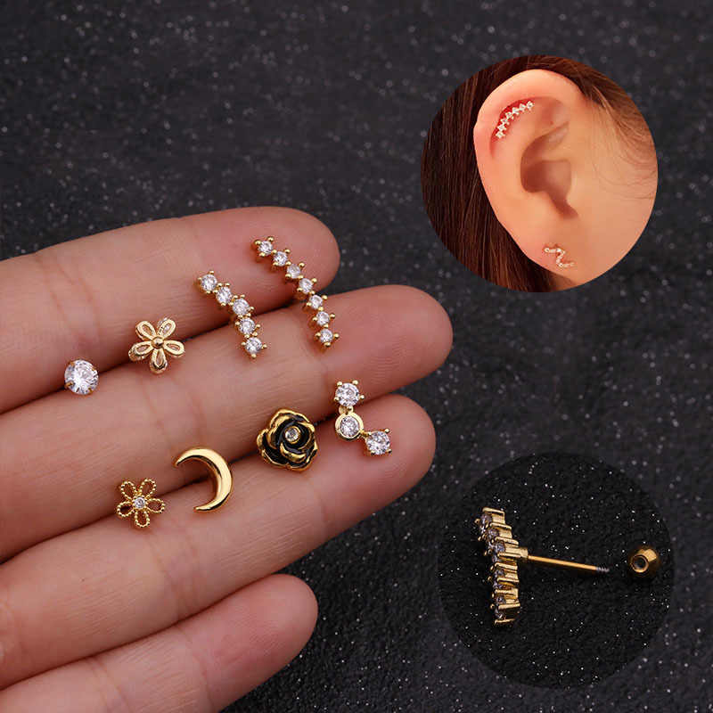 Imixlot  New Design Cz Curved Bar Cartilage Earring Conch Piercing Helix Stud Ear Piercing Jewelry