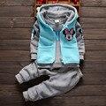 Горячий Продавать Хлопок ropa de bebe Ребенка Комплект одежда для младенцев кофта для малышей Модыхарактер Детская одежда розничная + 3 шт. + 4 Цветa