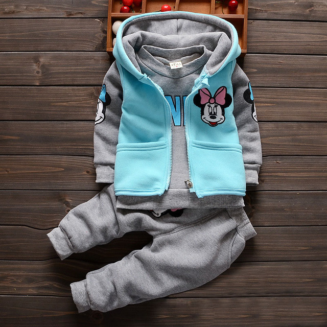2016 Hot Selling Cotton Apring Autumn Baby Clothing Set Boy&Girl Fashion Character Kids clothing Retail+3pcs +4Color