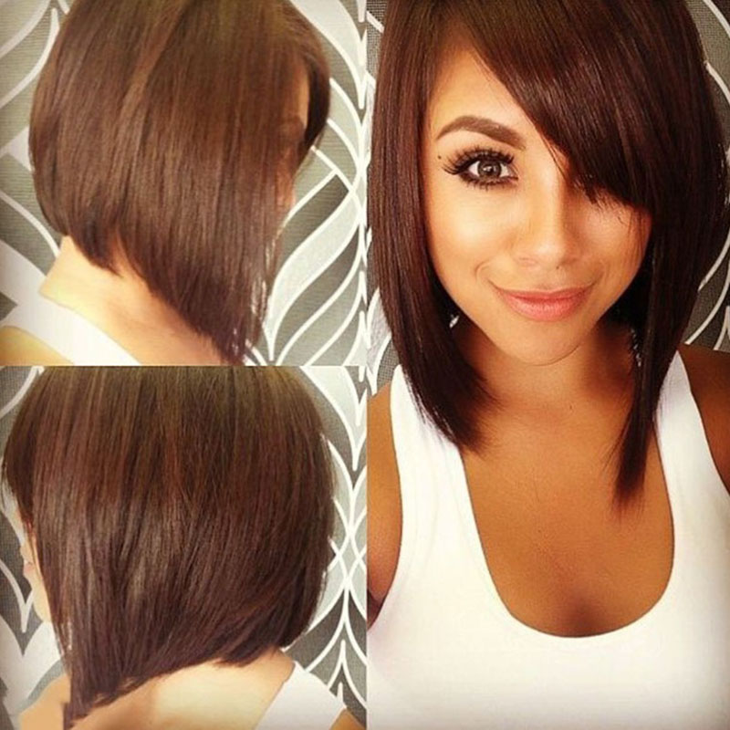 Short Black Bob Wigs With Bangs Black Brown Hair Cheap Synthetic