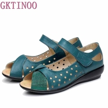 New 2020 summer shoes women genuine leather casual wedges shoes sandals womens pumps women sandals for women Plus size(35 43)