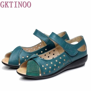 Image 1 - New 2020 summer shoes women genuine leather casual wedges shoes sandals womens pumps women sandals for women Plus size(35 43)