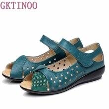 Nowe 2020 letnie buty damskie oryginalne skórzane buty na platformie na co dzień sandały damskie pompy damskie sandały dla kobiet Plus rozmiar (35 43)