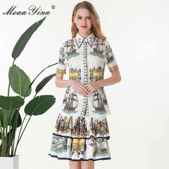 MoaaYina Fashion Designer Set Summer Women Short sleeve Rose Turn-down Collar Beading Print Tops+Cascading Skirt Two-piece set - DISCOUNT ITEM  15% OFF All Category