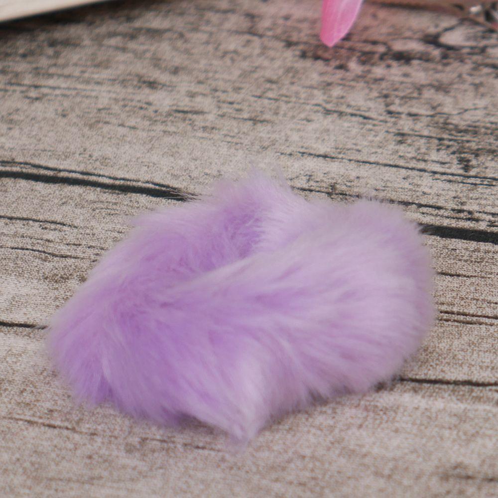 Милые трендовые теплые мягкие женские эластичные ленты из искусственного кроличьего меха для волос, аксессуары для волос для девочек, резинка для волос, головные уборы - Цвет: purple