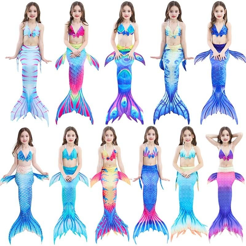 Mermaid Tail Costume Childs Swimwear Swimsuit Bikini Set Kids Girl Beachwear