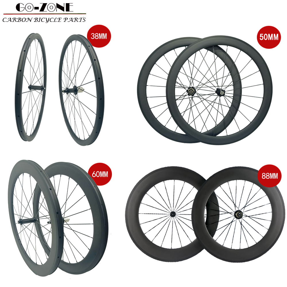 Carbon Wheels 38mm 50mm 60mm 88mm Carbon Road Wheels 700c Clincher Carbon Wheelset Bike Wheels Chinese Carbon Wheels