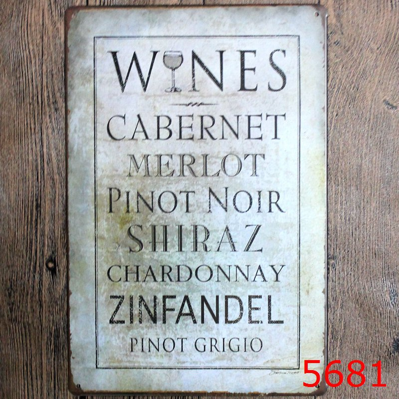 30X20CM Wine Letter Vintage Home Decor Tin Sign for Wall Decor Metal Sign Vintage Art Poster Retro PlaquePlate