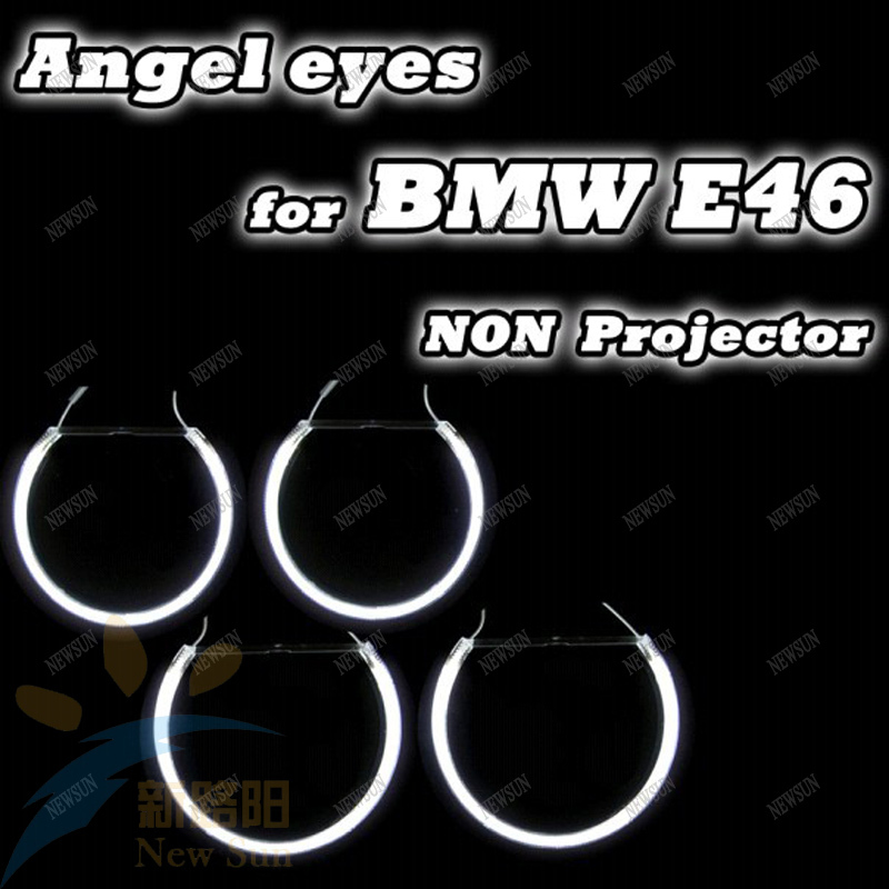 Ultra bright CCFL angel eyes headlight  kit for BMW E46 non-projector A+B (4rings+2inverters) Free shipping ccfl halo rings kit free shipping ccfl angel eyes for bmw e90 e90 non projector halo ring e90 ccfl angeleyes lights