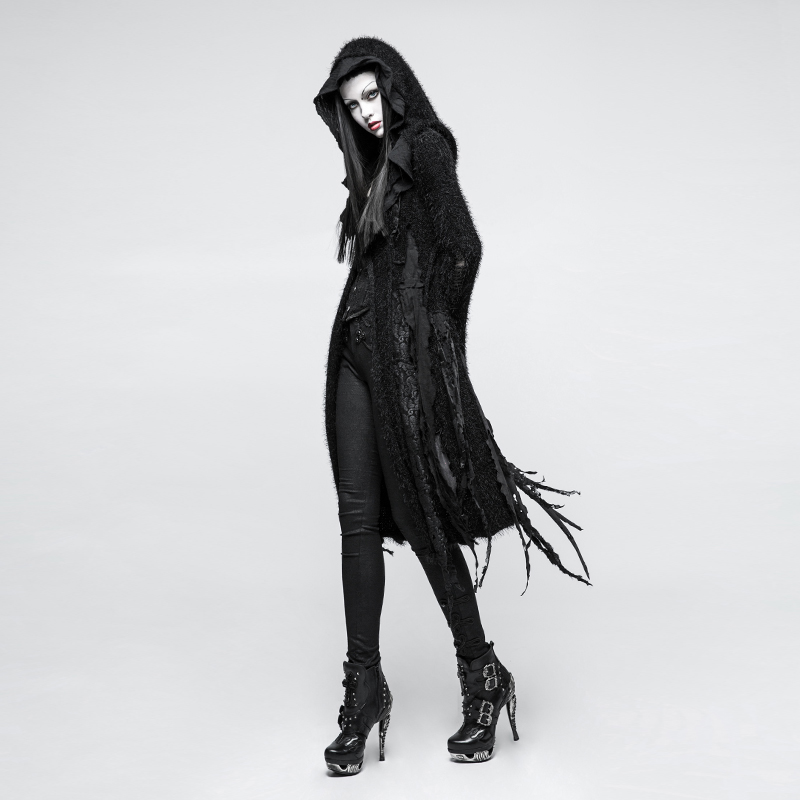 Gothic vampire Performance Women Black Long   Trench   Coat Asymmetric Hole Knit Irregular Halloween Witch Outwear Coat