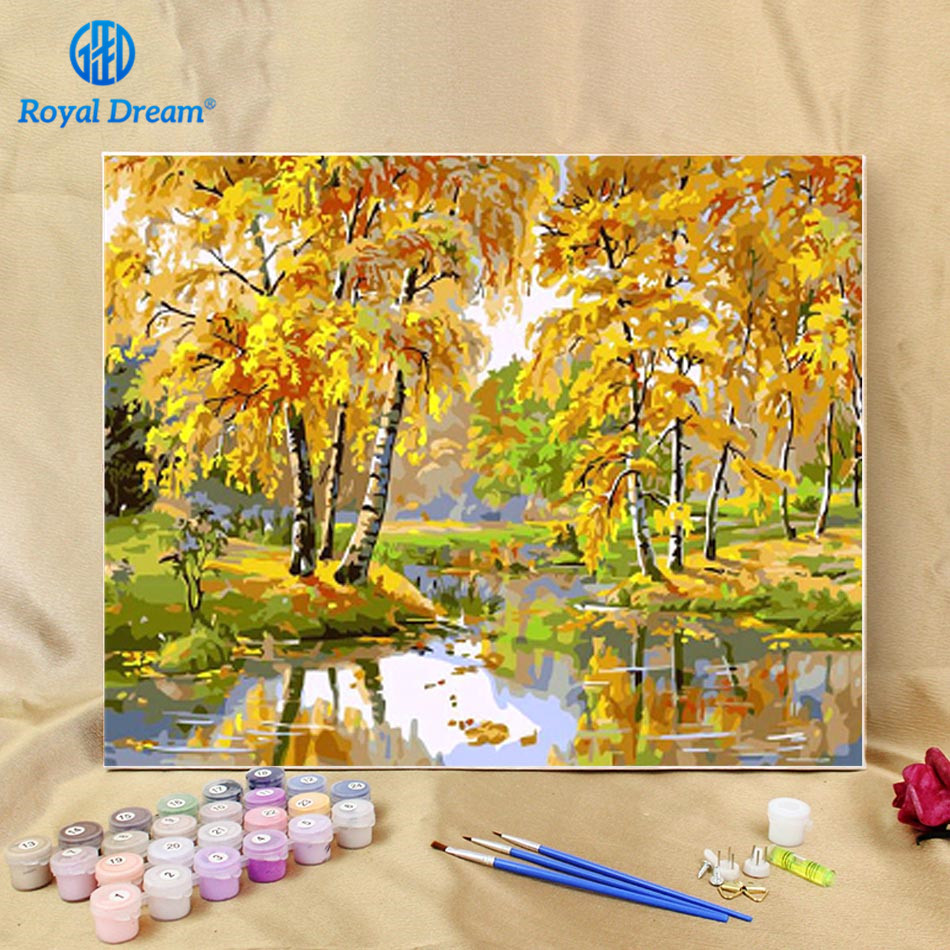 Landscape Oil Painting By Numbers on Canvas Autumn Tree Painting Hand painted Paint By Number Kits for Adults