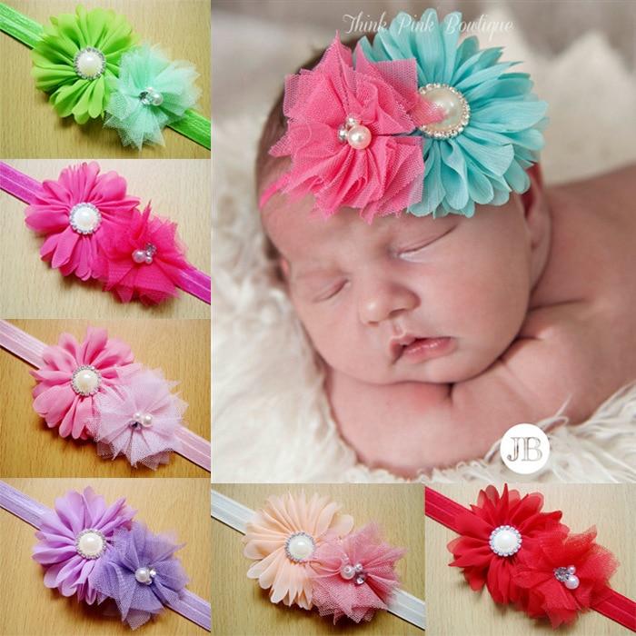 Baby Girl  Lace Flower Headband Toddler Infan Chiffon Elastic Hairband Wholesale