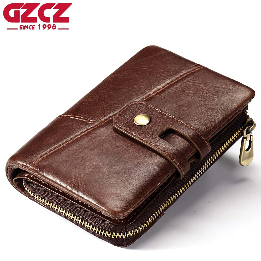 GZCZ Genuine Leather Men Wallet Coin Purse PORTFOLIO Man Walet Zipper Design Male Clutch Fashion Card Holder Money Bag Perse simline fashion genuine leather real cowhide women lady short slim wallet wallets purse card holder zipper coin pocket ladies