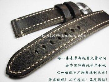 65fba05f18b6 Retro marrón de alta calidad correas hechas a mano de los Hombres 18 19 20  21 22mm correa de reloj hebilla de acero de cuero mate para MIDO CBI Tissot  Seiko