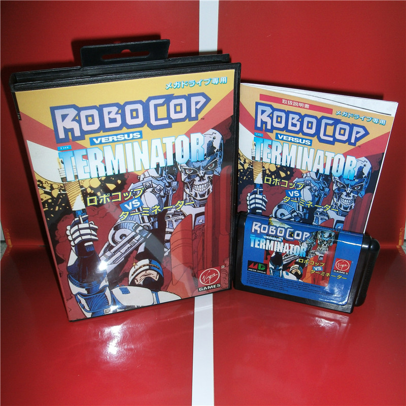 Robocop VS Terminator Japan Cover with box and English manual For Sega Megadrive Genesis Video Game Console 16 bit MD card