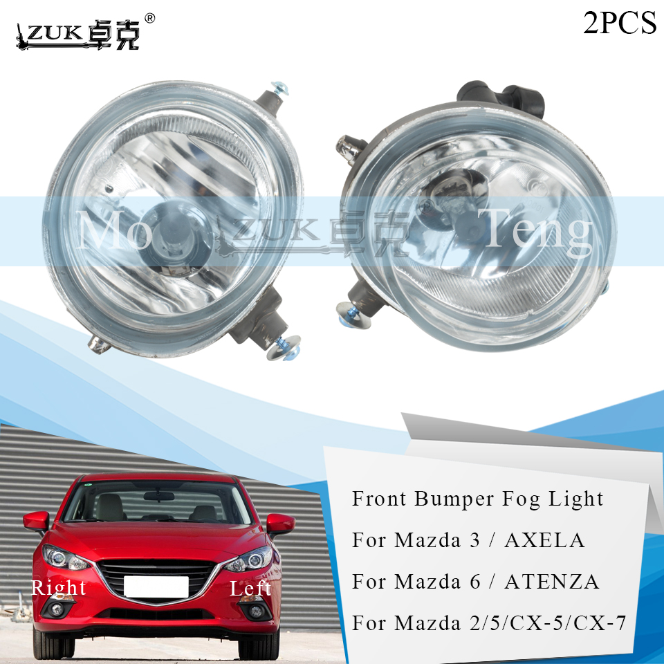 ZUK 2PCS Front Bumper <font><b>Fog</b></font> <font><b>Lamp</b></font> <font><b>Fog</b></font> Light For <font><b>Mazda</b></font> 3 / Axela For <font><b>Mazda</b></font> <font><b>2</b></font> / 5 / 6 / Atenza / CX-5 / CX-7 Foglight BS1E-51-683-A image
