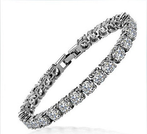 1 Carat Round Excellent Design Real Sona Synthetic Diamonds bracelet Lovely Women Engagement hand Chain A