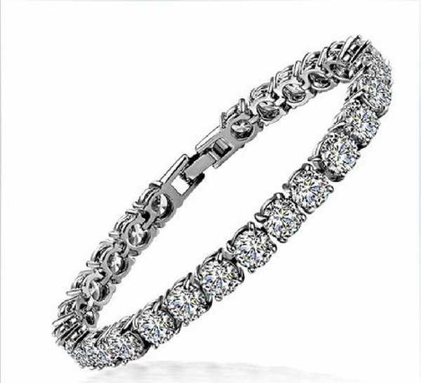 1 Carat Round Excellent Design Real Sona Synthetic Diamonds bracelet Lovely Women Engagement hand Chain A-OK Quality Never Fade