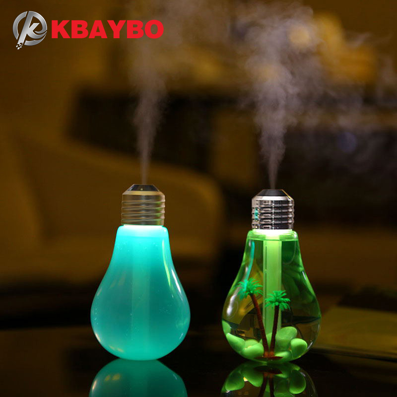 KBAYBO USB humidificateur à ultrasons Home Office Mini Diffuseur d'arômes LED Night Light Aromatherapy Mist Maker Bouteille créative ampoule