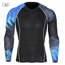 Long Sleeve Mens Compression Running Shirt Fitness Skin Tights T-shirts Gym Crossfit MMA Rashguard Bodybuilding Yoga Top Tee