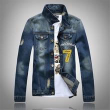 New Brand Spring and Autumn Slim Denim Jacket Men's Jeans Denim Printing Coat Plus Size M-XXXL Free Shipping Fashion Men Coats