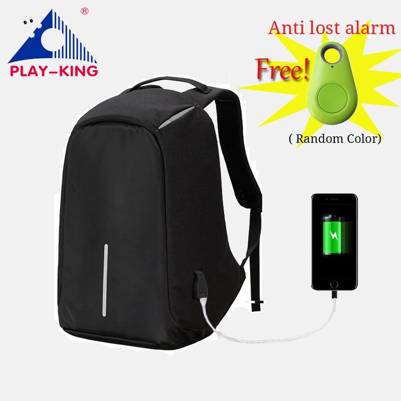 d6da80c6571b Playking anti theft рюкзак мужской для ноутбука плеча рюкзак путешествия с  USB моды Для мужчин сумка для ноутбука школы Mochilas Сумки