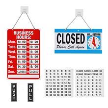 METABLE 1SET Hours Sign 양면 열림/닫힘 사인은 비즈니스 상점 상점을위한 검은 색 비닐 번호 스티커로 시계를 반환합니다.