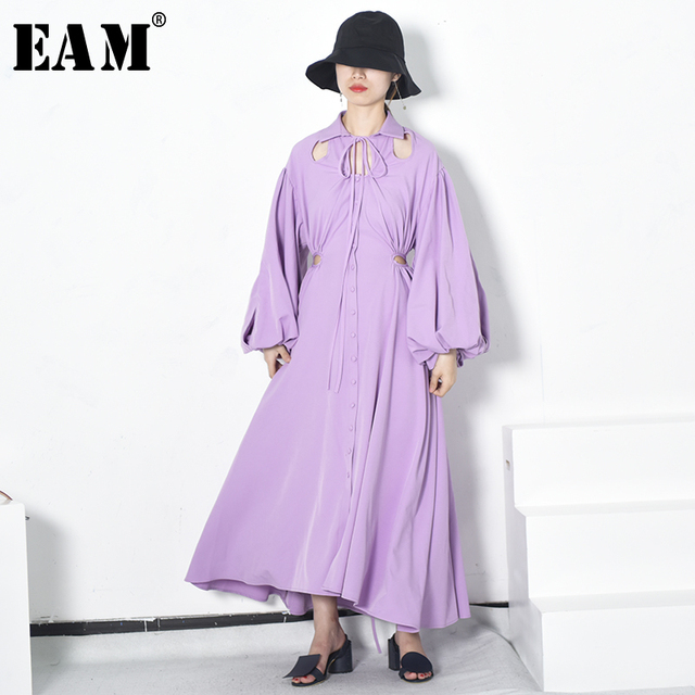 [EAM] 2019 New Spring  winter Lapel Long Sleeve Purple Hollow Out Backless Loose Sexy Long Drawstring Dress Women Fashion JF441