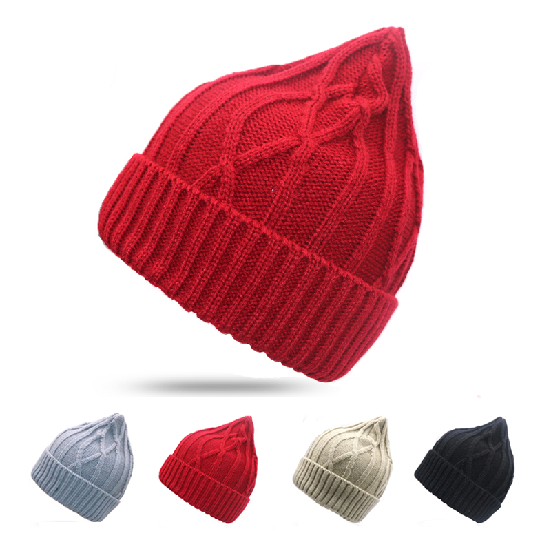 2018 Winter Hats For Women   Beanie   Cap Solid Warm Hats Knitted Striped   Skullies     Beanies   Man Thick Warm Caps Black Gray Beige Red