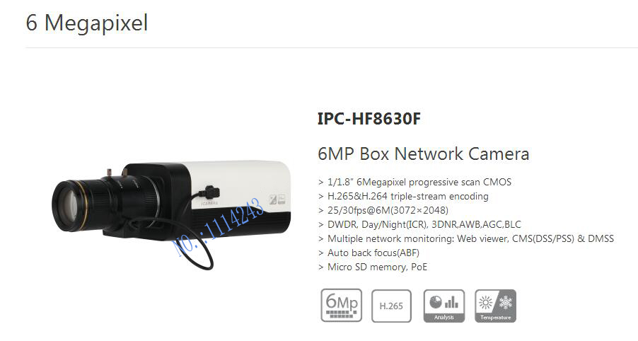 Free Shipping DAHUA CCTV Security IP Camera 6MP Box Network Camera POE H.265 H.264 without Logo IPC-HF8630F free shipping dahua cctv camera 4k 8mp wdr ir mini bullet network camera ip67 with poe without logo ipc hfw4831e se