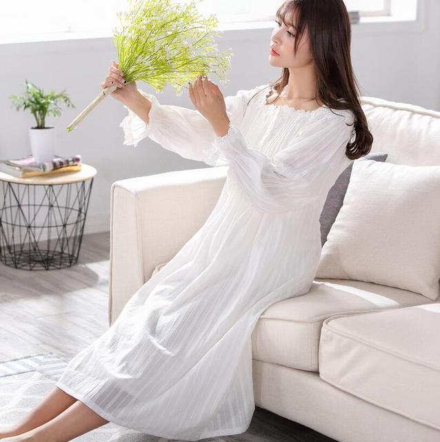Japonés mori chica 100% Algodón Princesa Pijamas Camisón de Las Mujeres ropa de Dormir Camisón Largo Blanco Señoras Camisón negligee S22