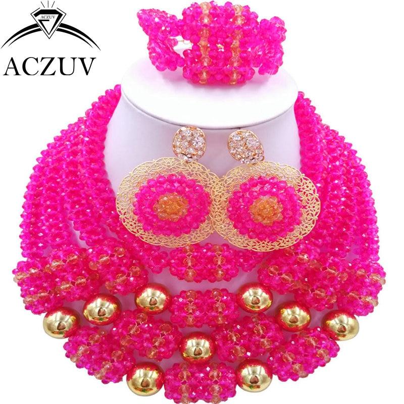 ACZUV Latest Women African Beads Jewelry Set Hot Pink Gold Nigerian Necklace Wedding Accessories D4R010ACZUV Latest Women African Beads Jewelry Set Hot Pink Gold Nigerian Necklace Wedding Accessories D4R010