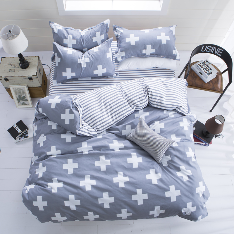Queen/King Size Polyester Cross 3 Pieces Bedding Sets Reversible Soft Comforter Cover Pillow Cases Duvet Cover Set Queen/King Size Polyester Cross 3 Pieces Bedding Sets Reversible Soft Comforter Cover Pillow Cases Duvet Cover Set