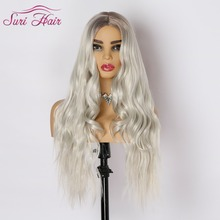 цена на Synthetic Wigs for women Ombre Long Wavy hair White Cosplay Wig Two Tone hairpiece Heat Resistant 28 inch Suri Hair Average Size