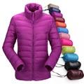2016 mujeres ultraligero abajo chaqueta de invierno pato abajo chaquetas mujeres delgadas de manga larga parka abrigos cremallera bolsillos sólido