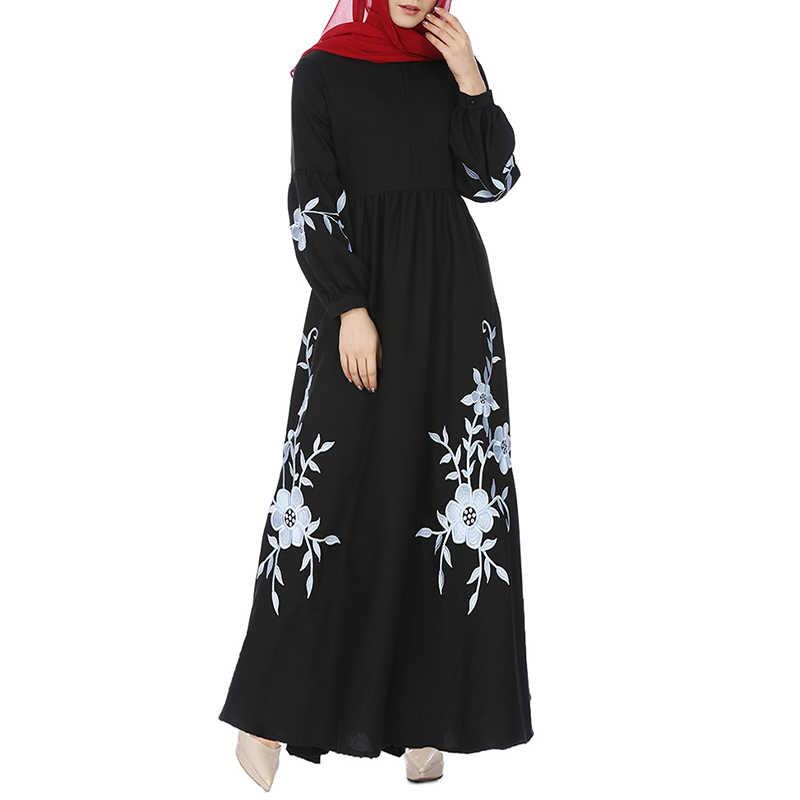 Women Muslim Vintage Dress Floral Print Woman Long Sleeve Long Dress 2018  Black White Plus Size 156cbd8ac1bd