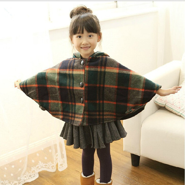 2015 Fashion autumn girls wool plaid cape knitted outerwear cardigan child clothes baby winter outerwear kids coat black button