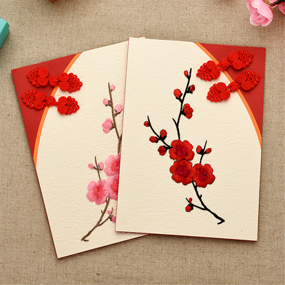 vintage new year greeting new year greeting cards handmade plate buttons cheongsam plum foreigners send their