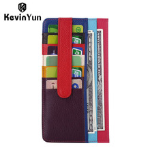 KEVIN YUN Designer Brand Genuine Leather Women Card Holder Patchwork Credit Case Wallet