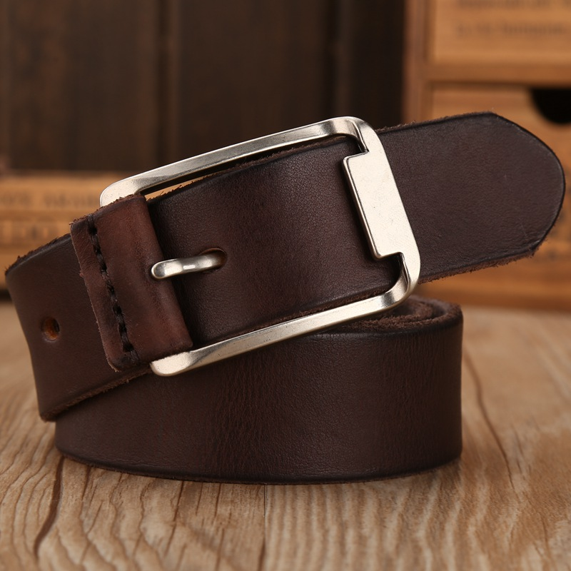 Luxury Designer Male Belt Men High Quality Real Cowhide Full Grain Genuine Leather Belts Camel Cowboy 3.8 Cm Masculine Soft Apparel Accessories