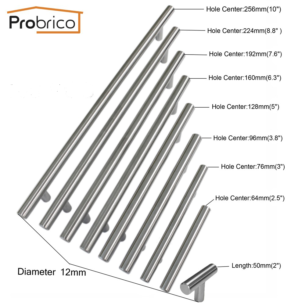 Probrico 2~12Cabinet T Bar Handle Diameter 1/2 CC 50mm~320mm Stainless Steel Furniture Drawer Knob Kitchen Cupboard Door Pull 1 pair 4 inch stainless steel door hinges wood doors cabinet drawer box interior hinge furniture hardware accessories m25