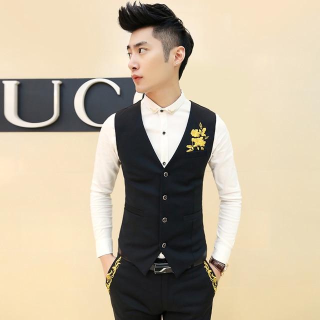 Men's vest dress Fashion chrysanthemum embroidery Slim leisure club dress vest Business gentleman high-quality men clothing MJ06