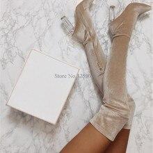 Новые дизайнерские женские модные бархатные сапоги выше колена с открытым носком на толстом каблуке пикантные силиконовые стельки для защиты от натирания ног