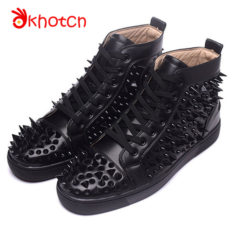 Studded Rivet Zapatillas Deportivas Hombre Round Toe Spikes Flats Shoes Patent Leather Espadrilles Lace-Up Chaussure Homme цены онлайн